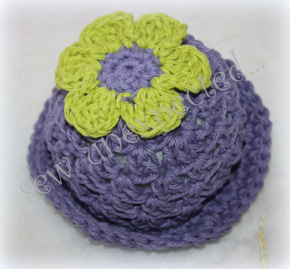 Crochet cotton flower sunhat