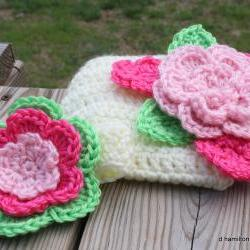 Flower headband and diaper cover set