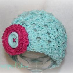 Spring cloche with button flower